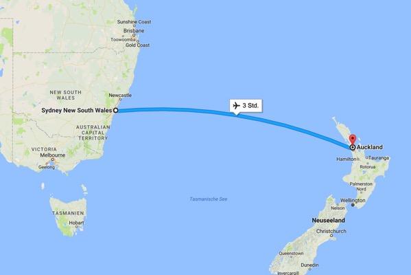Flug nach Auckland