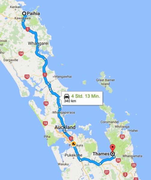 Paihia Neuseeland nach Thames Waikato 3500 Neuseeland Google Maps