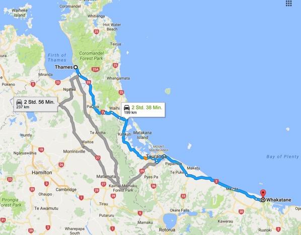 Thames Neuseeland nach Whakatane Bay of Plenty Neuseeland Google Maps